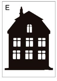 Sticker huisje E (15x20cm)