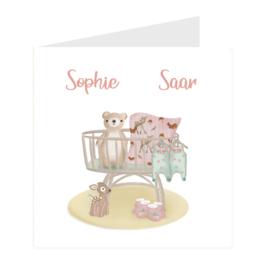 Geboortekaart meerlingen   Baby Girls