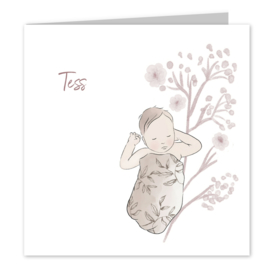 Geboortekaart meisje | Baby Pink