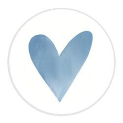 Aquarel hartje blauw | 24 stuks