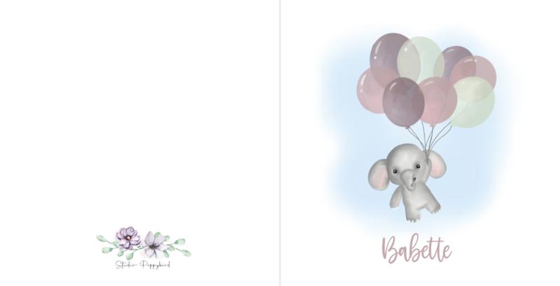Geboortekaart meisje   Olifantje