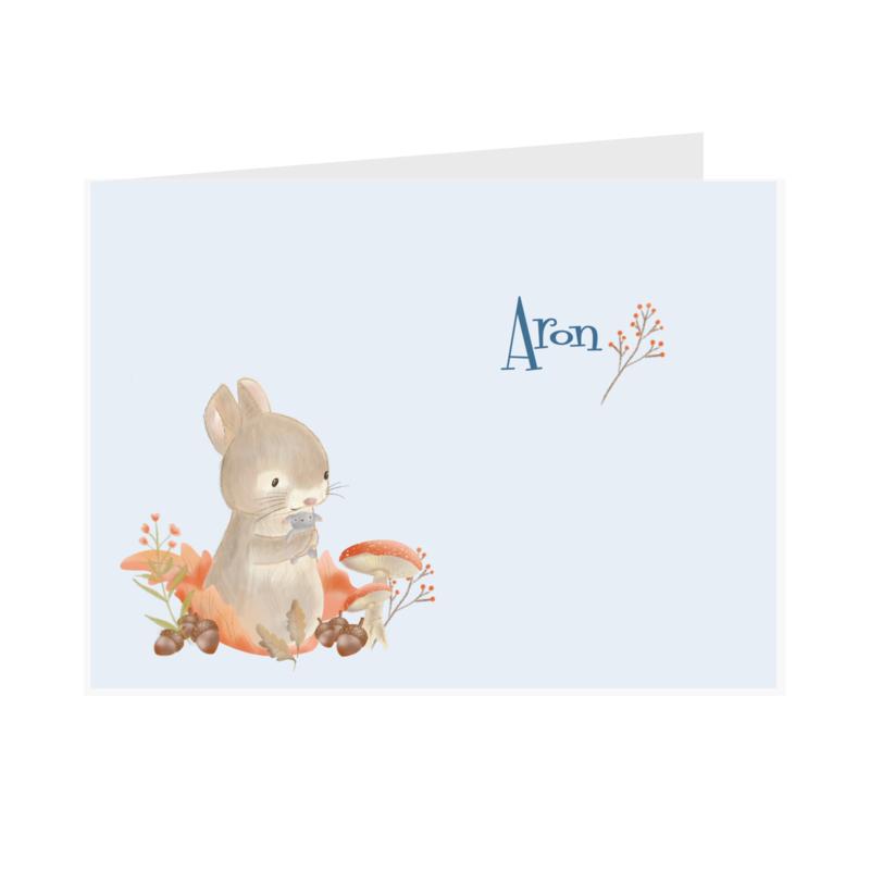 Geboortekaart jongen | Leaf Bunny