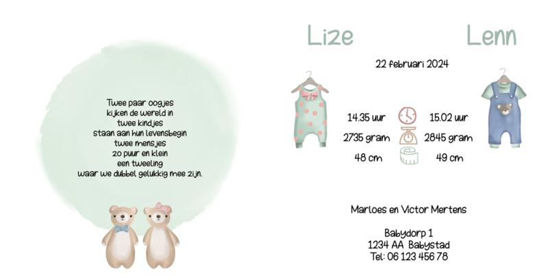 Geboortekaart meerlingen | Sweet baby's