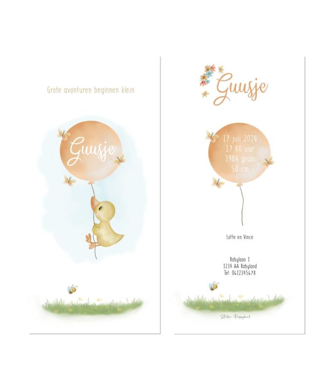 Geboortekaart | Eendje ballon