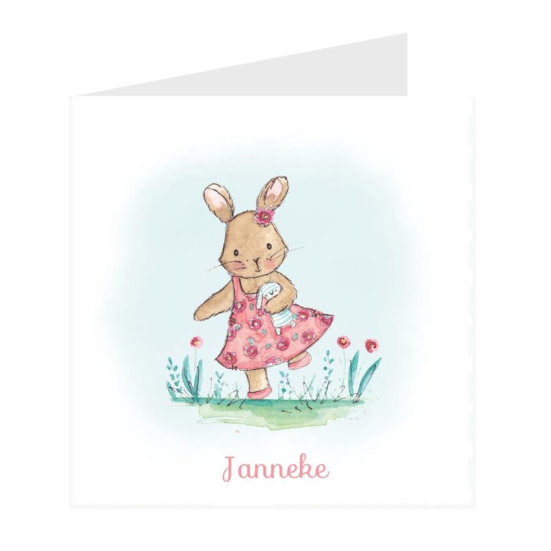 Geboortekaart meisje   Klein konijntje