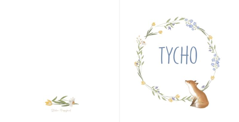 Geboortekaart  | Bloemen vosje