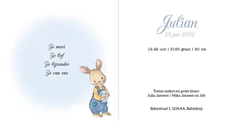 Geboortekaart jongen   Klein konijntje