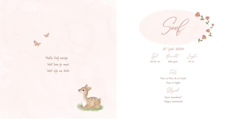 Geboortekaart meisje   Darling Deer