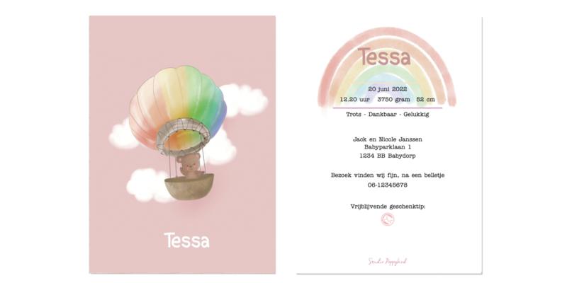Geboortekaart meisje | Rainbow Bear