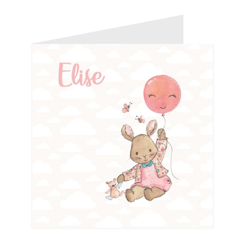 Geboortekaart meisje | Fly Bunny