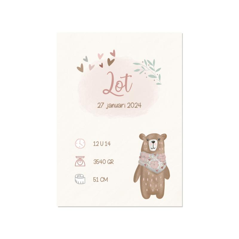 Geboortekaart meisje   Knuffelbeer
