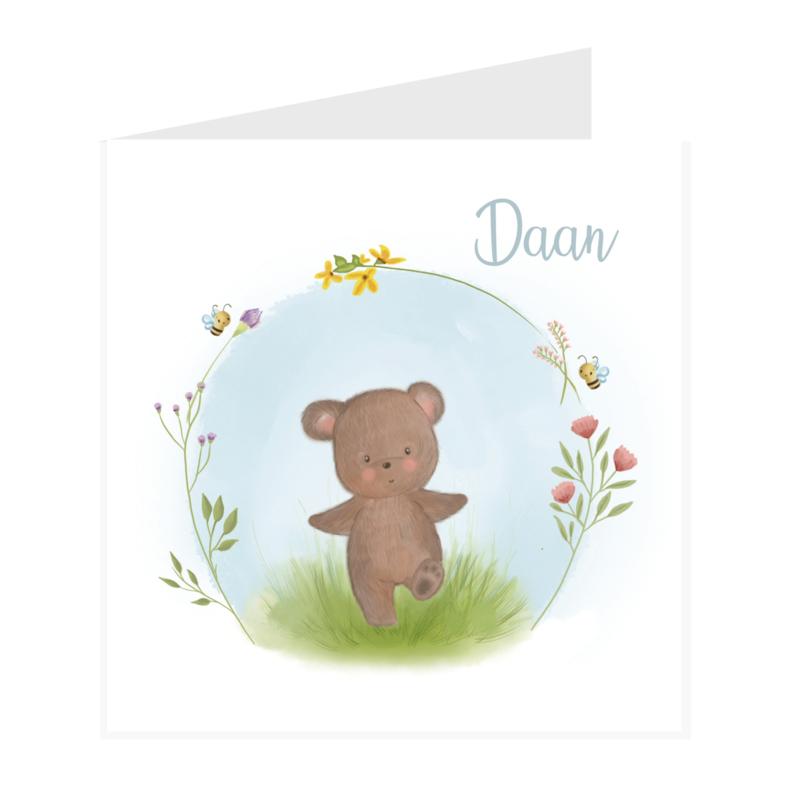 Geboortekaart jongen   Flower Bear