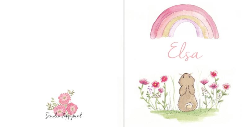 Geboortekaart meisje | Rainbow Bunny