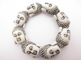 Meditatie armband boeddha wit