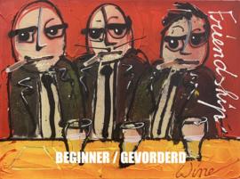 """THREE MEN - [Beginner / Gevorderd] - TEKENEN MET ACRYLVERF EN SPUITBUSSEN - """"WINE-STYLE"""""""