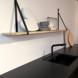 Wandplank 2cm met leren riemen