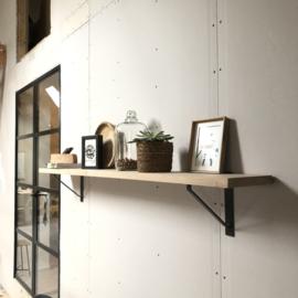Wandplank 4cm met stalen houders