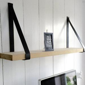 Wandplank 4cm met leren riemen