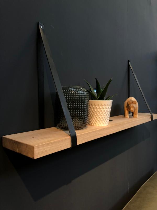 Wandplank 3cm met leren riemen