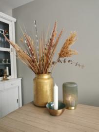 Goudkleur vaas met droogboeket