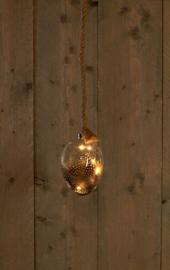 Glazen ei met veertjes en led lampjes.