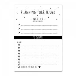 Notitieblok planning foar hjoed