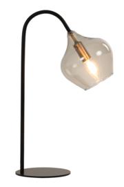 Tafellamp RAKEL mat zwart + smoke