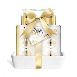Gouden giftset in keramisch schaaltje, 3-delig / vanille