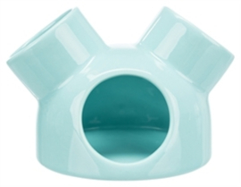 Trixie speelhuis muizen met 3 ingangen keramiek turquoise