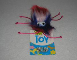 Furryball met catnipp rood, wit en blauw
