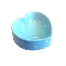 Happy Pet Voerbak polka dot hart blauw