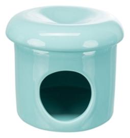 Trixie speelhuis muizen met deksel keramiek turquoise
