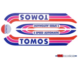 Sticker set rood/paars/blauw oud model Tomos A3