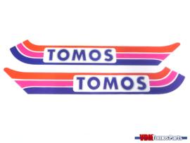 Sticker set tank rood/paars/blauw Tomos A3
