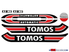 Sticker set zwart/wit/rood oud model Tomos A3