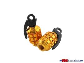 Valve caps set grenate gold