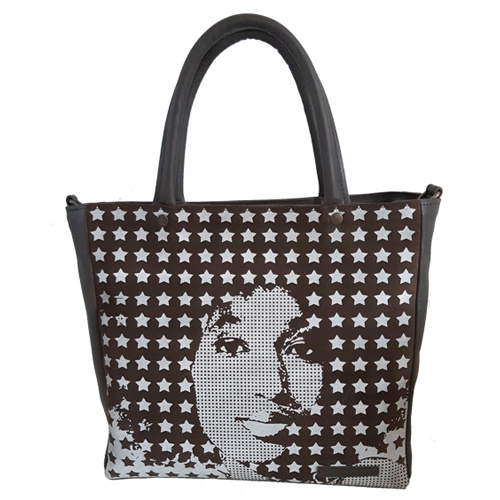 Shopper zeefdruk lady stars darkbrown