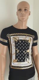 Zwart T-Shirt Bedrukt