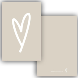 Mini kaartje hart crème