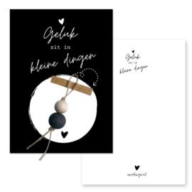 Kaart met gelukspopje - zwart