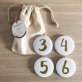 Verjaardagskroon Cijferbuttons 3/4/5/6 (Goud) - per set