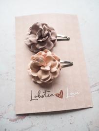 Haarspeldjes 5 cm bloemen roze/mauve (2 stuks)