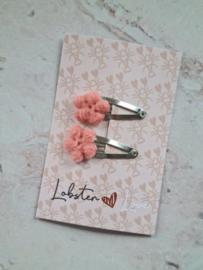 Haarspeldje 3 cm roze bloemetjes (2 stuks)