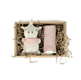 Cadeauset Unicorn en swaddle Blush