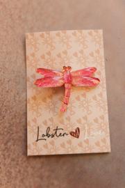 Alligatorclip 3 cm Dragonfly fuchsia roze