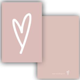 Mini kaartje hart roze