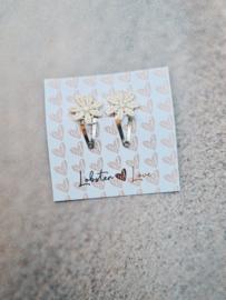 Haarspeldje bloem lace ecru (2 stuks)