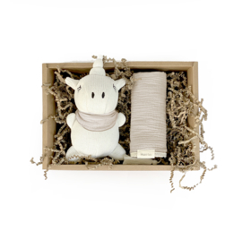 Cadeauset Unicorn en swaddle Ivory