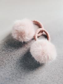 Fluffy haarelastiek babyroze