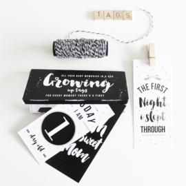 Growing up tags - mijlpaalkaarten